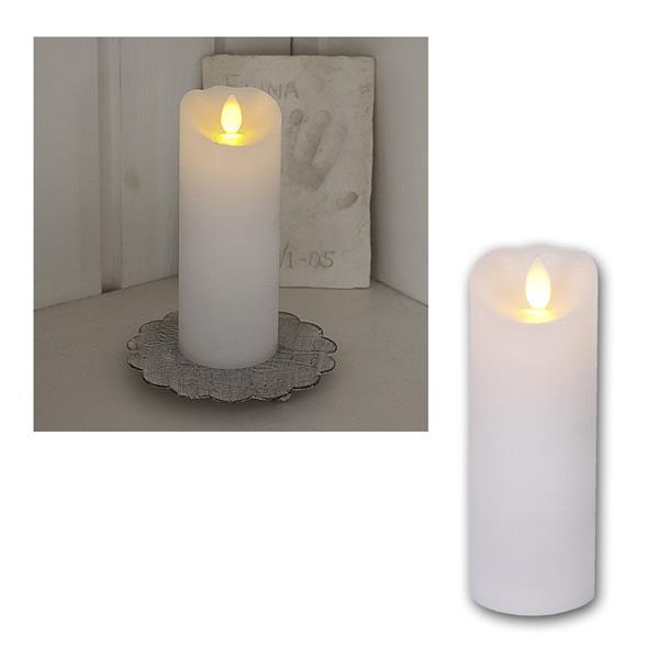 LED Wachskerze Glow Flame weiß Timer 15x5,5cm