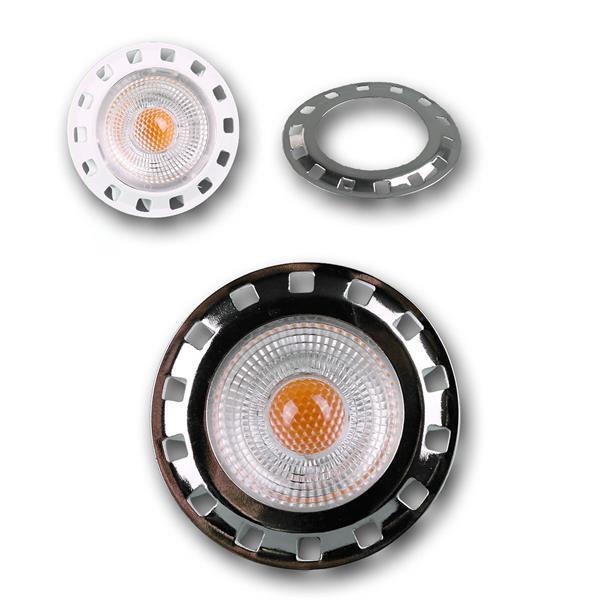 MR16 LED Leuchtmittel mit COB LED und 1x Aufsteckblende silber