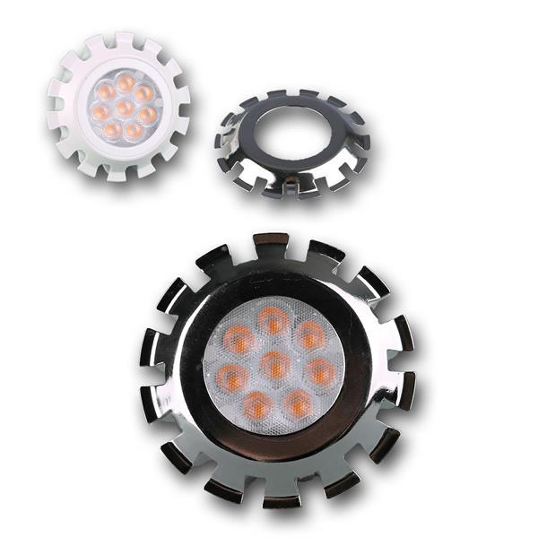 MR16 LED Energiesparleuchte dimmbar mit COB LEDs und 1x Aufsteckblende silber