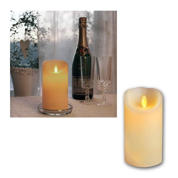 LED Wachskerze Twinkle Flame 15cm, elfenbein