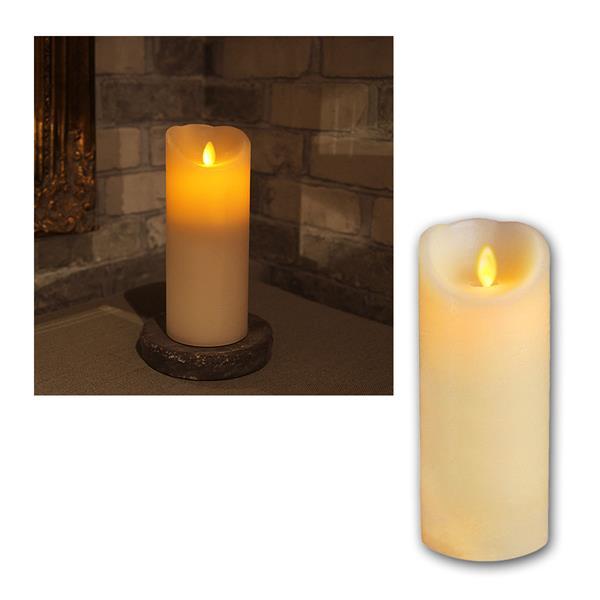LED Wachskerze Twinkle Flame 20cm, elfenbein