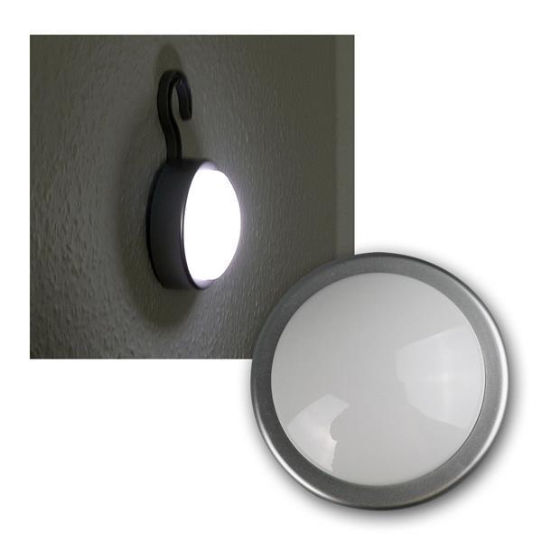LED-Schrankleuchte silbern mit Haken, Clickleuchte
