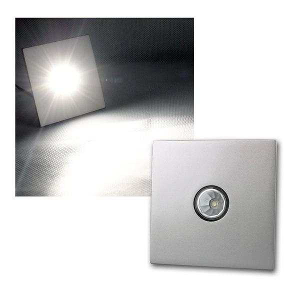 3W LED-Einbauleuchte Chrom, eckig, neutral-weiß