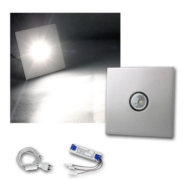 2er Set LED-Einbauleuchte Chrom, eckig, neutral-weiß mit Zubehör