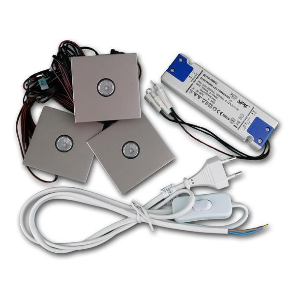 3W LED-Einbauspot Chrom für Konstantstrom 700mA