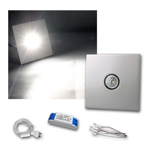 4er Set LED-Einbauleuchte Chrom, eckig, neutral-weiß mit Zubehör