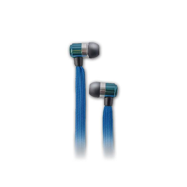 In-Ear-Kopfhörer mit Mikrofon mit blauen Kabel