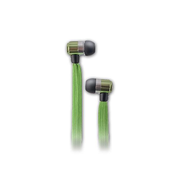 In-Ear-Kopfhörer mit Mikrofon mit grünem Kabel