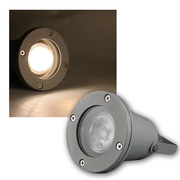 Gartenstrahler grau IP44 COB LED warmweiß 3W 230lm
