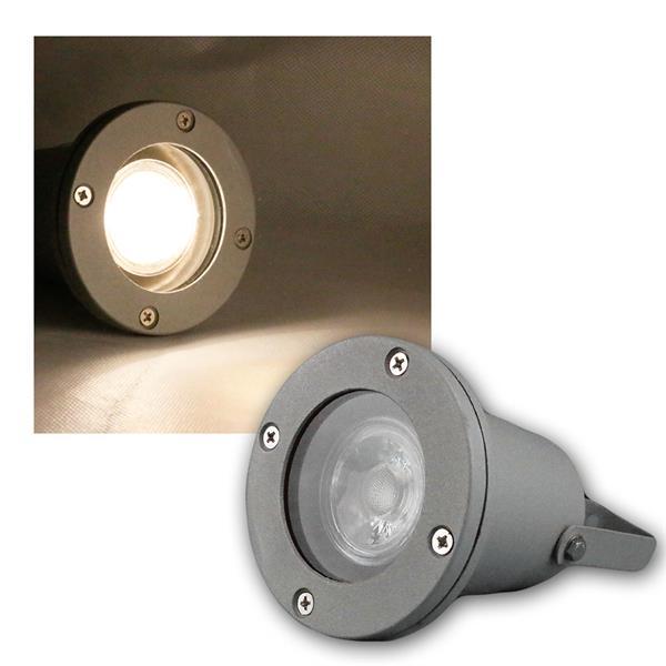 Gartenstrahler grau IP44 COB LED warmweiß 5W 400lm