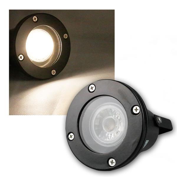 Gartenspot schwarz IP44, COB LED warmweiß 5W 400l