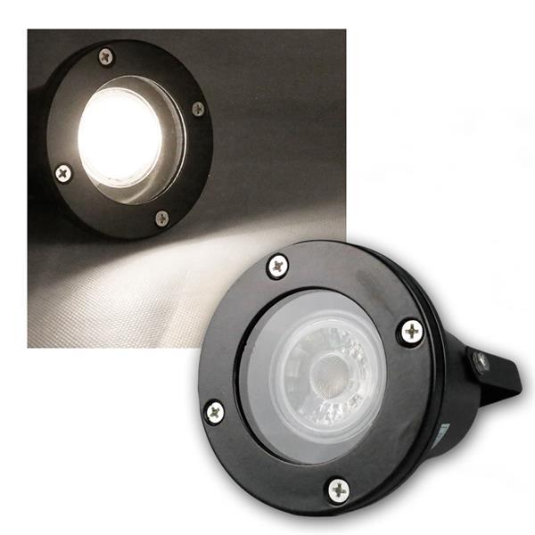 Gartenspot schwarz IP44, COB LED daylight 5W 420lm