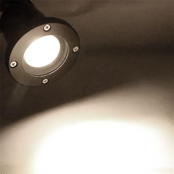 IP44 Gartenstrahler schwarz mit 7W GU10 COB Leuchtmittel