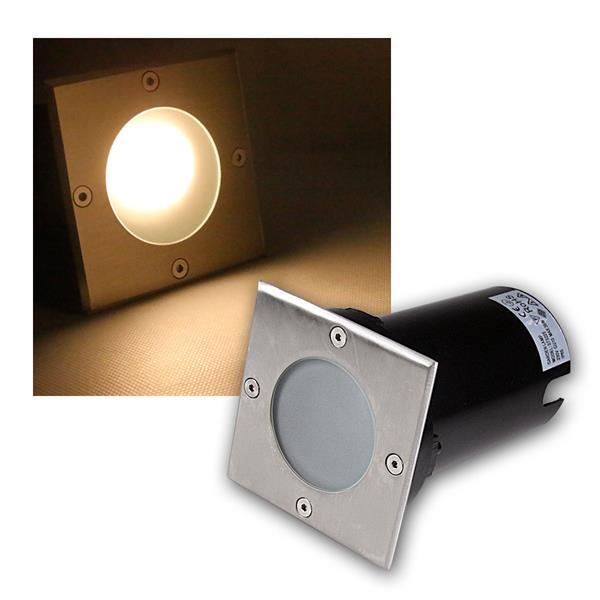 Bodeneinbaustrahler eckig 3W COB LED warmweiß 230lm