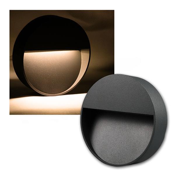 Wandleuchte Aluminium rund IP54, 10 LED warm weiß
