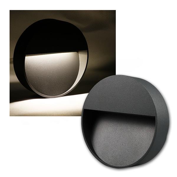 Wandleuchte Aluminium rund IP54, 10 LED neutral weiß