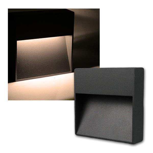 Wandleuchte Aluminium eckig IP54, 10 LED warm weiß