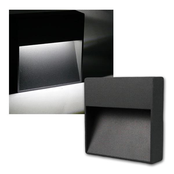 Wandleuchte Aluminium eckig IP54, 10 LED neutral weiß