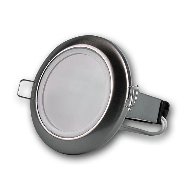 Einbaustrahler Edelstahl-Optik, GU10, IP44, rund