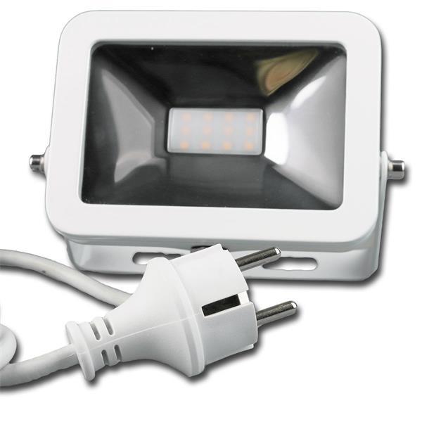LED Flutlicht mit formschönem weiße Metallgehäuse mit Schutzgrad IP44