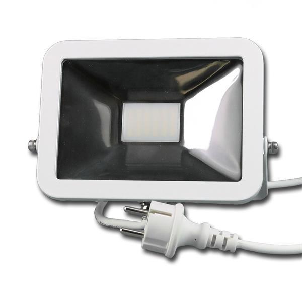 LED Flächenstrahler mit formschönem weißem Metallgehäuse mit Schutzgrad IP44