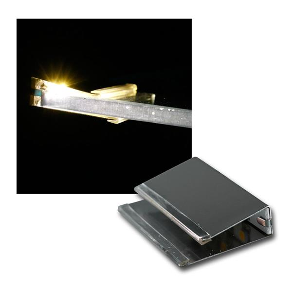 LED Glas Clip warmweiß, 12V 0,2W, Chrom