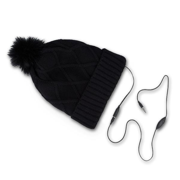 Wintermütze mit integr. Kopfhörer, schwarz Bommel