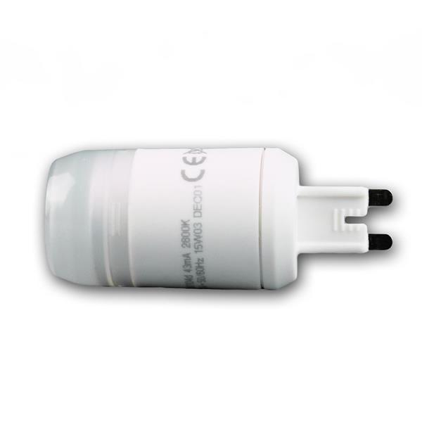 G9 Sockellampe für 230V mit dem Maß 28x88mm (øxL) und Schutzglasabdeckung
