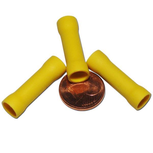 Crimpverbinder mit gelber Kunststoffummantelung, innen verzinnt