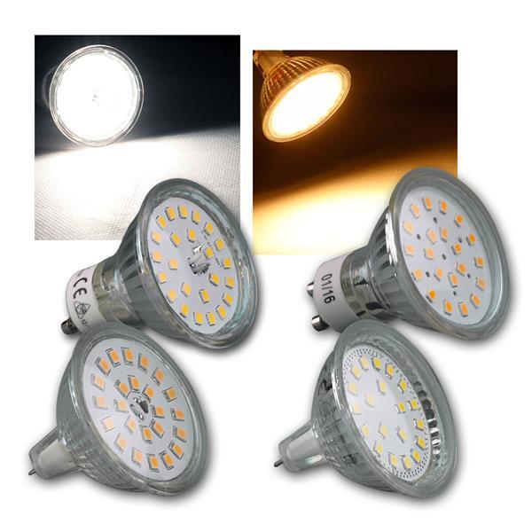 LED Strahler GU10/MR16 H40/55 SMD 120° warm/kalt
