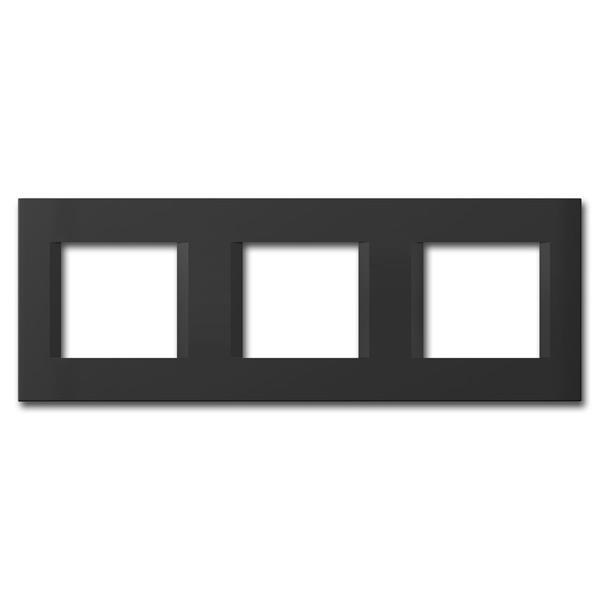 MODUL-PLUS 3-fach UP-Rahmen, Schwarz-Matt, line