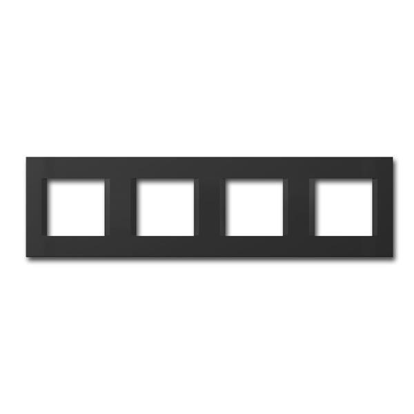 MODUL-PLUS 4-fach UP-Rahmen, Schwarz-Matt, line