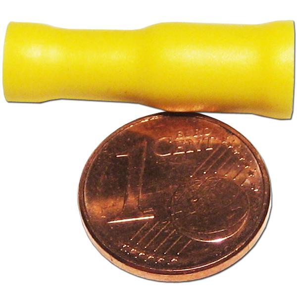 Rundsteckhülse mit gelber PVC-Isolation und verzinnten Messing