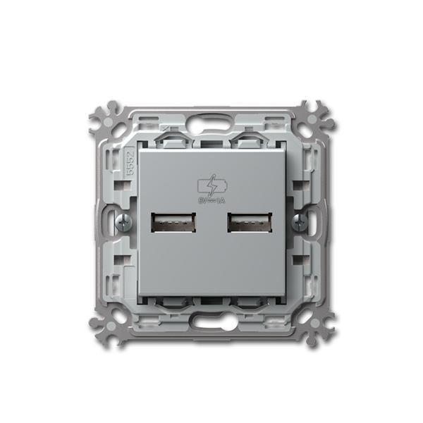 MODUL-PLUS 2-fach USB Ladesteckdose silber 5V/1A