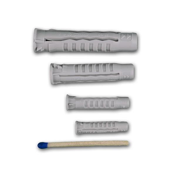 Universal-Nylondübel mit Verdrehsicherung in 4 Größen