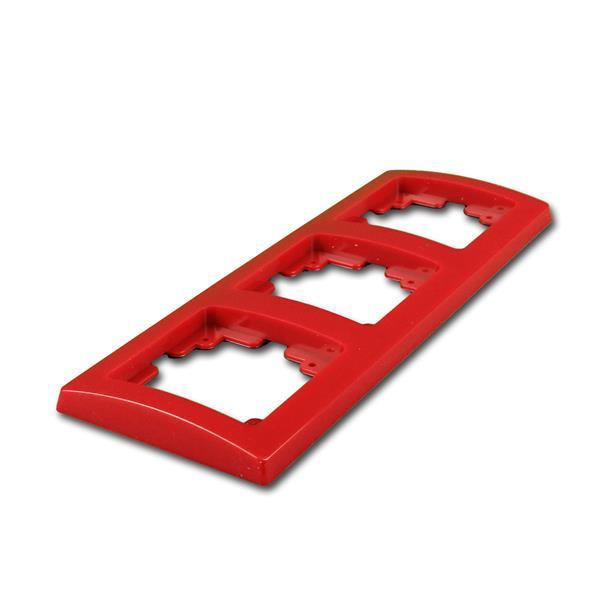 DELPHI 3-fach Rahmen rot, UP-Steckdosenrahmen