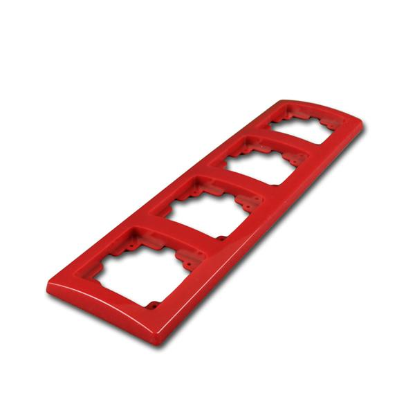 DELPHI 4-fach Rahmen rot, UP-Steckdosenrahmen