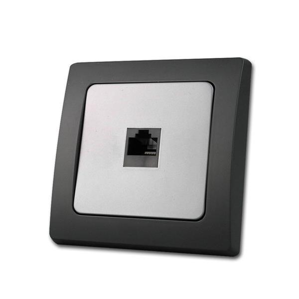 DELPHI Netzwerkdose schwarz/silber RJ45 Cat.5/ISDN