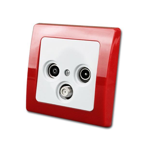 DELPHI Antennendose, rot/weiß, TV/Radio/Sat, UP