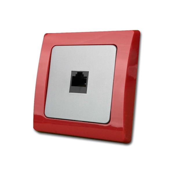 DELPHI Netzwerkdose, rot/silber, RJ45, Cat.5/ISDN