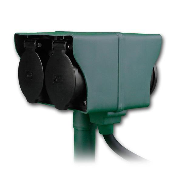 Gartensteckdose, 4-fach mit Erdspieß 250V/16A IP44