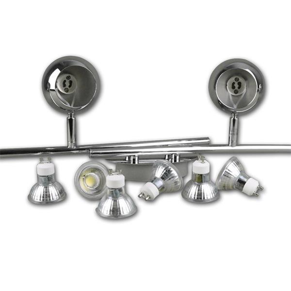 modernes Design aus poliertem Chrom und den runden Lampenköpfen