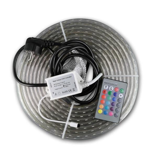 led stripe rgb pro 230v 10 meter ip44 ir fb. Black Bedroom Furniture Sets. Home Design Ideas