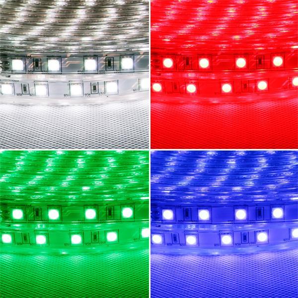 230V RGB-Streifen mit IR-Fernbedienung und 16 vorprammierten Farben