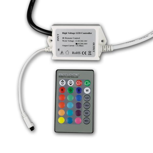 RGB-Controller 230V plus IR-Fernbedienung im Lieferumfang