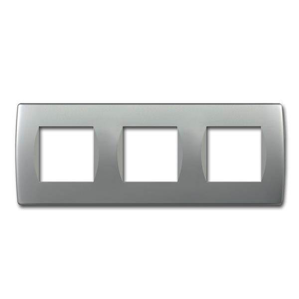 MODUL-PLUS 3-fach UP-Rahmen, Silber-matt, soft