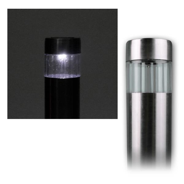 LED Solar-Gartenleuchte, Edelstahl, ØxL 4,7x38cm
