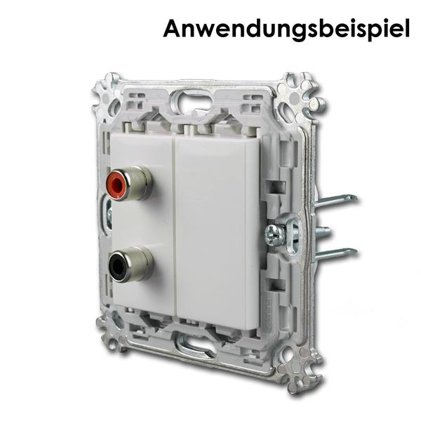1M Funktionselement 2-fach-Chinch Anschluss (halbe Dose) im Montageträger