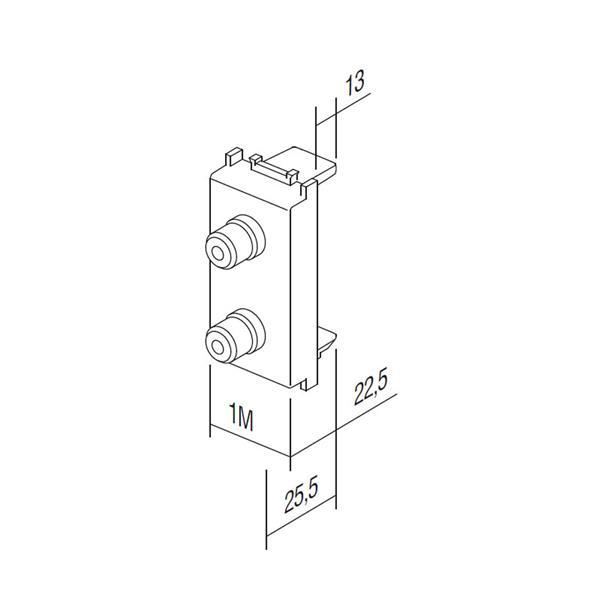 Modul Plus 1M Funktionselement Lautsprecher-Steckdose Abmessungen