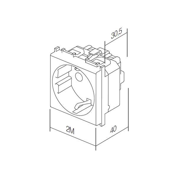 Klappdeckel-Steckdose Funktionselement 2M Modul-Plus für max. 250V~/16A
